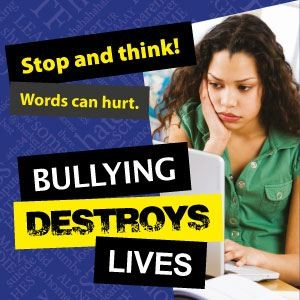 Photo of anti bullying program with the words stop and think. Bullying destroys lives.
